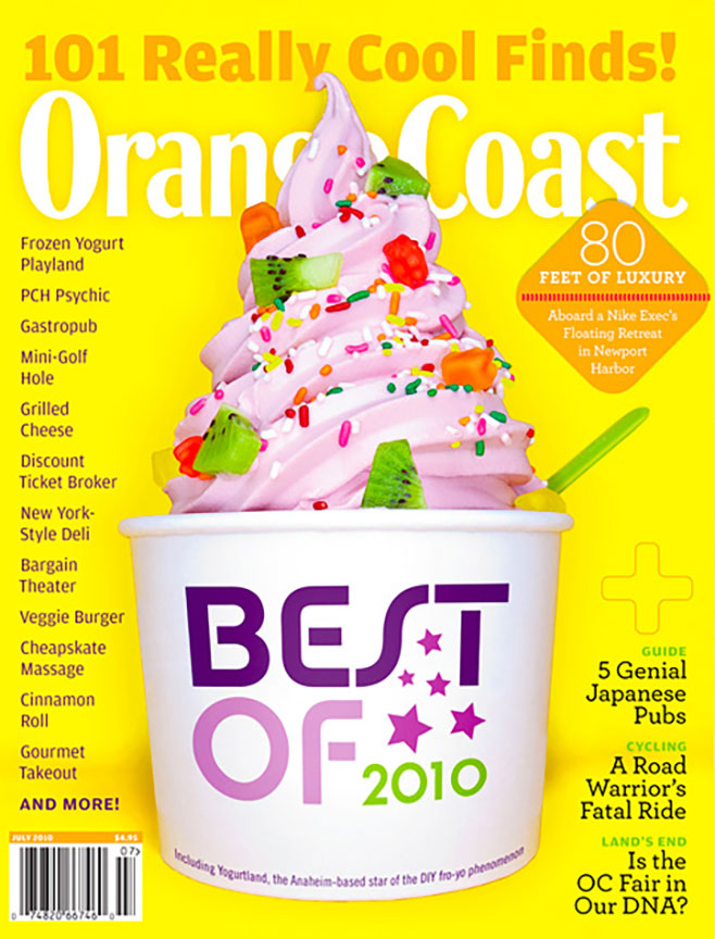 Product Photography orange Coast Magazine Cover